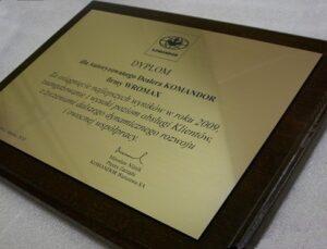 Dyplom grawerowany w mosiądzu szlifowanym wykończenie patynowe