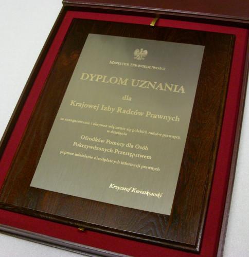Dyplom uznania wykonany w mosiądzu srebrnym - grawerunek czysty bez patyny