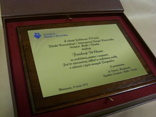 Dyplom grawerowany w mosiądzu złotym umieszczony na desce drewnianej w etui