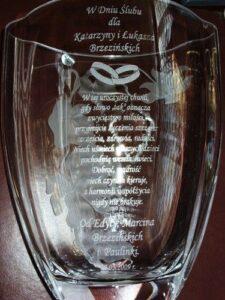 Wazon szklany wygrawerowany laserowo z okazji ślubu