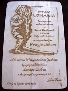 Dyplom grawerowany na drewnie - deska surowa grawerowana laserowo