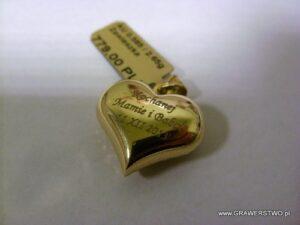 Serduszko złote -  grawerunek laserowy