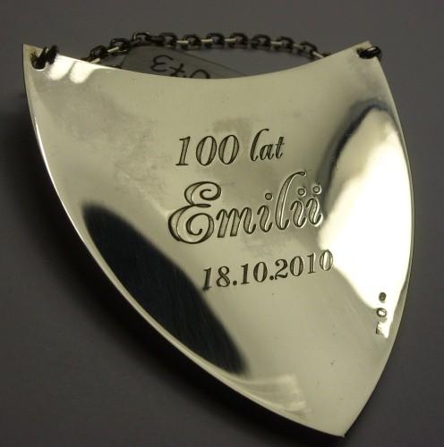 Ryngraf srebrny grawerowany  laserowo