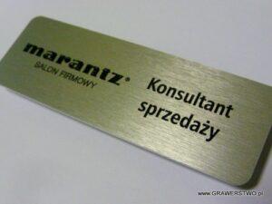 Identyfikator aluminiowy grawerowany - napisy napuszczone farbą