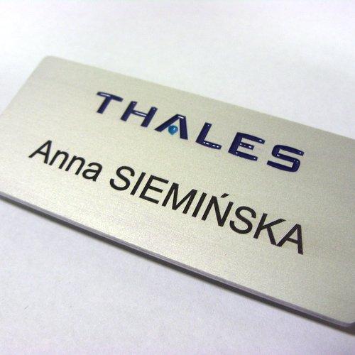 Identyfikator grawerowany z aluminium
