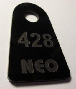 Numerek szatniowy grawerowany - plexi czarna 3 mm ( grawerowanie laserowe )