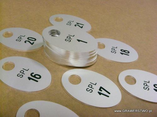 Numerki grawerowane z aluminium napuszczone farbą