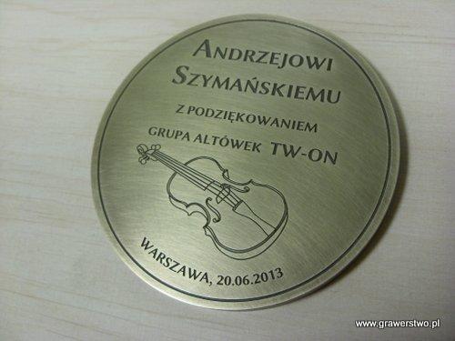 Pamiątkowy medal grawerowany laserowo w mosiadzu
