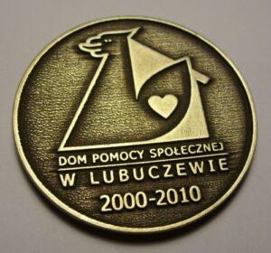 Medal patynowany  rozmiar 50 mm liternictwo wypukłe