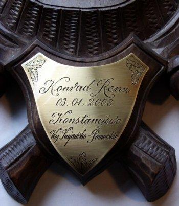 Tabliczka grawerowana do trofeum myśliwskiego - mosiądz w wykończeniu patynowanym, grawerunek ręczny
