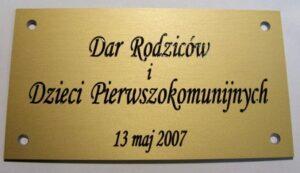 Tabliczka grawerowana okolicznościowa wykonana z aluminium złoty mat