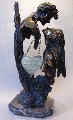 Tabliczka grawerowana w kształcie serca - mosiądz srebrny patynowany