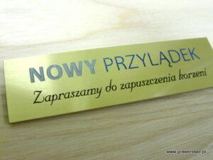 Tabliczka grawerowana - mosiądz patynowany