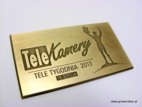 Tabliczka mosiężna do statuetek TELEKAMERY 2013; mosiądz patynowany