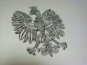 Godło grawerowane na szyldzie notarialnym aluminowym