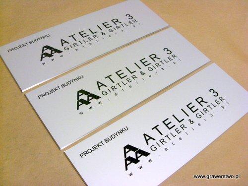 Szyldy grawerowane - aluminium anodowane srebrny mat