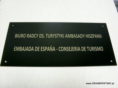Szyld grawerowany z laminatu czarnego ze złotym grawerunkiem