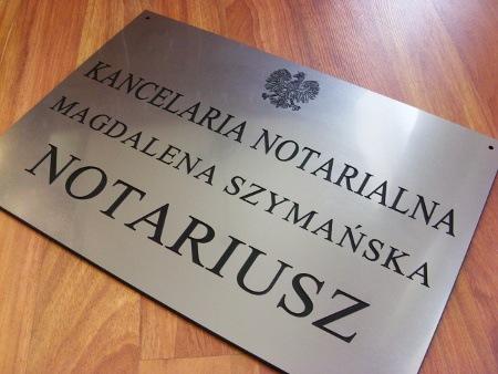 Szyld notarialny grawerowany - materiał laminat metalizowany lzp 314 o rozmiarze 50x35 cm
