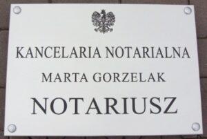 Szyld dla notariusza grawerowany - aluminium anodowane o wymiarze 50x35 cm