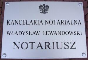 Tablica notarialna grawerowana - materiał aluminium anodowane o wymiarze 50x35 cm