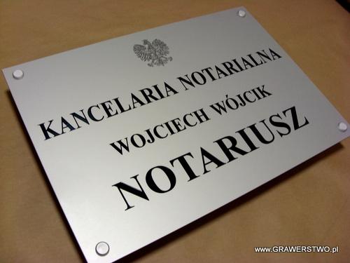 Grawerowany szyld notarialny - materiał aluminium anodowane o wymiarach 50x35 cm