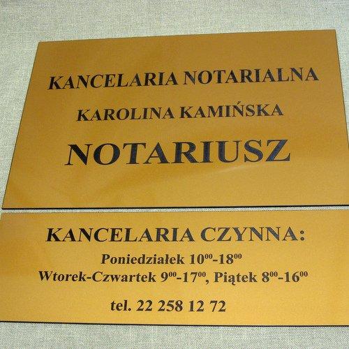 Tabliczka wewnętrzna na drzwi dla notariusza grawerowana z laminatu lz 992