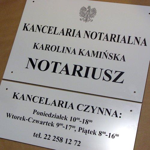 Szyld notarialny grawerowany z tablicą uzupełniającą- laminat biały lz 902 grawerunek laserem CO2