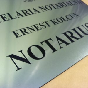 Tablica notarialna grawerunek  laserowy w laminacie metalizowanym lzp 314 o wymiarze 50x35 cm