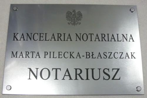 Szyld notarialny grawerowany - laminat metalizowany lzp 314 wymiar 50x35 cm