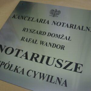 Tablica notarialna grawerowana z laminatu metalizowanego lzp 314 o wymiarach 50x51 cm