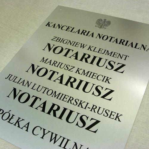 Tablica notarialna wykonana z aluminum anodowanego w rozmiarze 50 x 51 cm