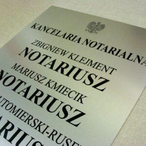 Tablica notarialna wykonana z aluminum anodowanego rozmiar 50 x 51 cm