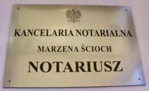 Grawerowany szyld notarialny - laminat metalizowany lzp 314 wymiar 50x35 cm