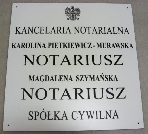 Tablica notarialna grawerowana - laminat grawerski biały lzp 902 wymiar 50x51 cm