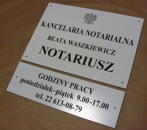 Tablica notarialna grawerowana z tablicą uzupełniającą - aluminium anodowane głęboki grawerunek frezem
