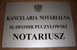 Szyld  notarialny grawerowany w aluminium anodowanym  wymiar 50x35 cm