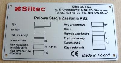 Tabliczka znamionowa grawerowana z aluminium -  grawerunek napuszczony farbą