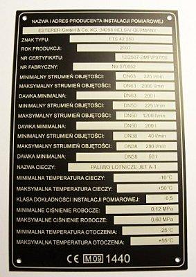 Tabliczka znamionowa grawerowana z aluminium czarny mat