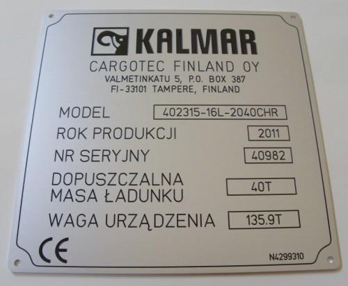 Tabliczka znamionowa grawerowana z aluminium