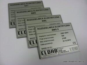 Tabliczki znamionowe grawerowane z aluminium - grawerunek wypełniony farbą