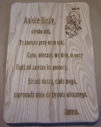 Deska drewniana grawerowana  - modlitwa do Aniła Stróża