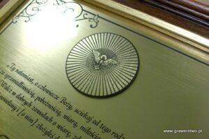 Pamiątka religijna - przykład grawerunku w laminacie