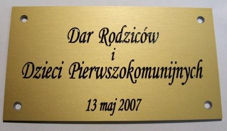 Tabliczka grawerowana z okazji Komunii św. w aluminium anodowane złoty mat